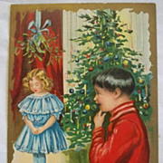 SALE Vintage Christmas Postcard Embossed  Children Tree Mistletoe
