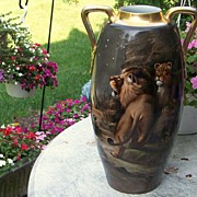 "SALE PENDING Spectacular 1900's Hand Painted ""Lion & Lioness"" 17-1/2"" Vase by t"