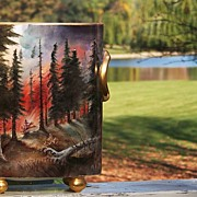 "Fabulous 1900's H & C Selb Bavaria Hand Painted ""Forest Fire in the Wilds"" 10 ..."