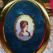"""SALE Vintage Limoges France 1900 Hand Painted """"Lady Portrait"""" 2-1/4"""" Framed Cam"""