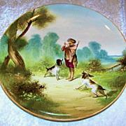 "SALE Large & Impressive France 1875--80's Hand Painted ""Hunt Scene"" 14-1/4"""