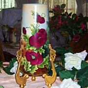 "SALE Impressive Limoges 1900's Hand Painted ""Deep Red & Pink Poppy"" 14-1/4"" Vas"
