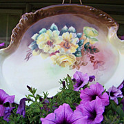 """SALE Gorgeous Vintage 1900's Limoges France Hand Painted """"Deep Yellow Roses"""" 12-3/4"""
