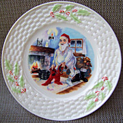 """Attractive Belleek 1980--1992 """"Santa Claus Dressing On Christmas Eve"""" 8-3/8"""" Christmas Plate with the Brown Mark # 7"""