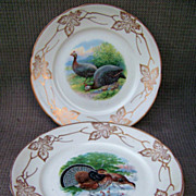 """SALE Outstanding Vintage Buffalo Pottery 1900's Set of 6 Scenic 9-1/4"""" Game Plates by Lis"""