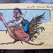 """Black Americana 1907 Post Card depicting a Black Man riding a Turkey and Entitled """"out .."""