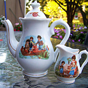"Vintage Bavaria 1900's Scenic ""Children Fishing"" & Other Scenes Child's Tea Pot & Cr"