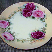"SOLD Attractive Limoges France 1900's Hand Painted ""Deep Red & Pink Roses"" 9-1/4"""