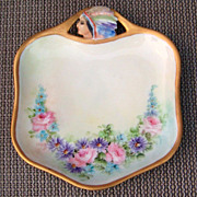 """Vintage RS Germany Hand Painted Embossed Indian Head """"Pink Roses & Daisies"""" 6-1/4"""" Tray"""