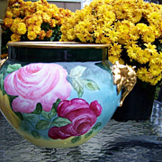 "SALE Spectacular J.P.L. France Limoges 1900's  Hand Painted ""Red, Pink, & Yellow Roses .."