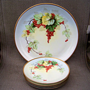 """Outstanding Selb Bavaria 1900's Hand Painted """"Red Currant"""" 12-3/4"""" Charger & Cake Set by the Listed Chicago Artist, """"Steve"""""""