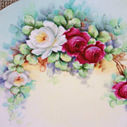 """Gorgeous Vintage KPM Germany 1900's Hand Painted """"Deep Red & White Roses"""" 9-7/8"""" Plate"""