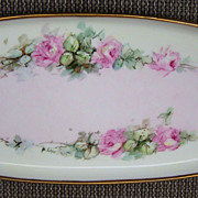"SALE Attractive Vintage 1914-21 Bavaria Hand Painted ""Petite Pink Roses"" 15"" Tr"