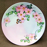 """Bavaria 1900's Vibrant Hand Painted """"Wild Pink Roses"""" 9-1/8"""" Plate by the ..."""