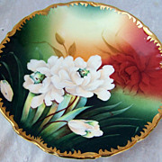 """Beautiful Vintage 1900's Germany Hand Painted Vibrant """"White Roses"""" 8-1/2"""" Plat"""