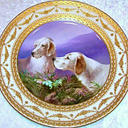 """Spectacular Vintage Royal Vienna Hand Painted Scenic """"Irish Setters At Work"""" 10-3/8"""""""