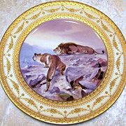 """Fabulous & Scarce Vintage Royal Vienna Hand Painted Scenic """"Lion & Lioness"""" 10-1/4"""""""