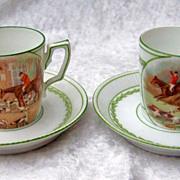 """European Vintage 1900's Scenic """"Fox Hunt Scenes"""" Pair of Children's Translucent Cup"""