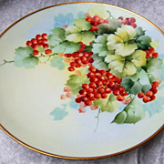 """Attractive Vintage Austria 1900's Hand Painted """"Red Currant"""" 9-1/4"""" Plate by th"""