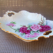 "SALE Beautiful Fancy Mold Bavaria 1900's Hand Painted ""Red & Pink Roses"" 10-7/8 ..."