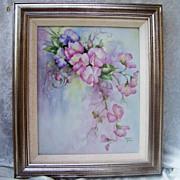 "SALE Impressive & Large Limoges 1940-1970's Hand Painted ""Pink & Lavender Sweet Pea"""