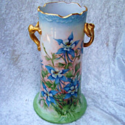 """Exceptionally Decorated Limoges Hand Painted """"Blue Columbine"""" 9-1/8"""" Vase by th"""