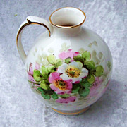 """Attractive Vintage 1920-30's Weisley China Co. Hand Painted """"Wild Pink & White Roses"""""""