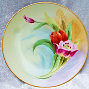 "SALE Gorgeous 1900's Thomas Bavaria Hand Painted Vibrant ""Purple & Red Tulips"" 10"""