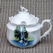 """Beautiful Vintage RS Prussia Scenic """"Swans In The Evergreens"""" 3"""" Mustard Pot"""