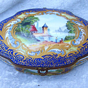 """Outstanding Vintage Sevres 1800's Hand Painted Beautiful Lake Scene  6-1/2"""" Cobalt Blue C"""