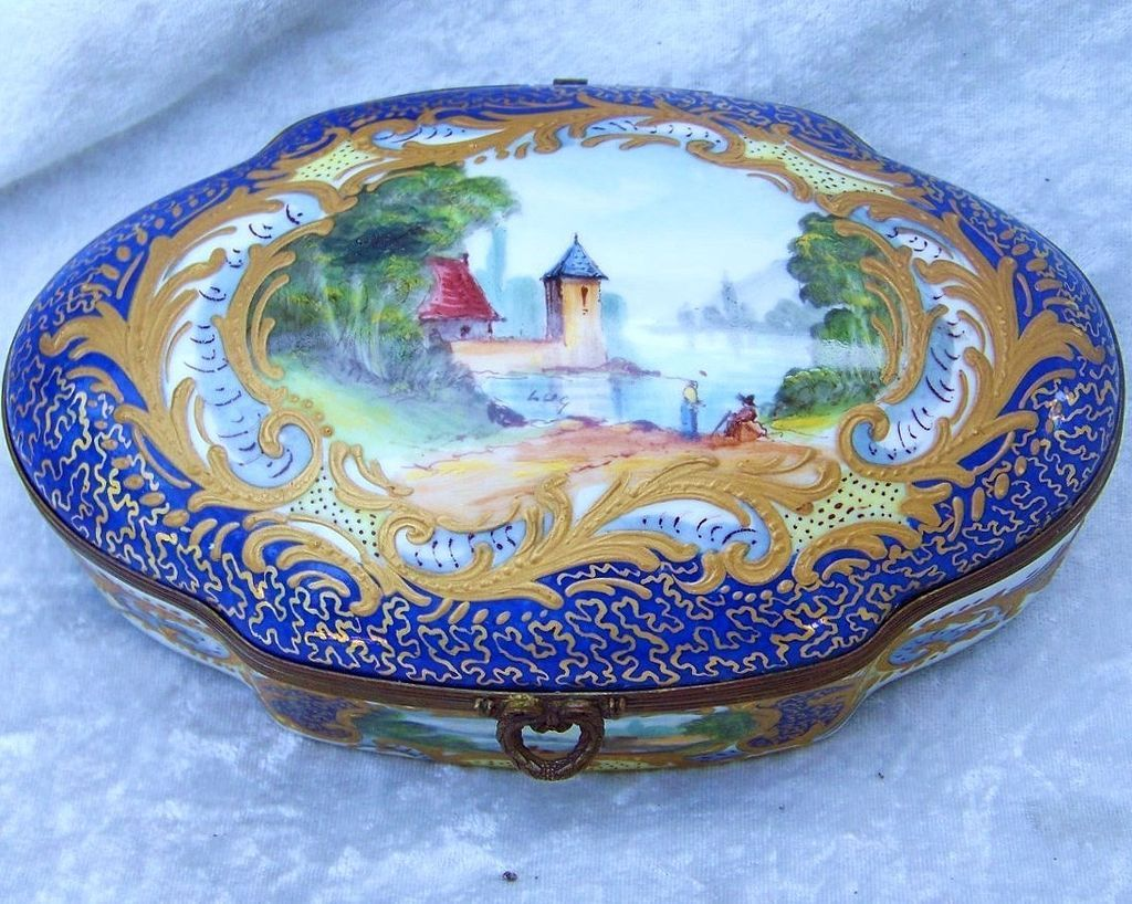 """Outstanding Vintage Sevres 1800's Hand Painted Beautiful Lake Scene  6-1/2"""" Cobalt Blue Casket Dresser Box by the Listed French Artist, """"Luc"""""""