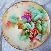 """SALE Gorgeous Vintage Firenze Ginori 1900's Hand Painted Vibrant """"Red Currant"""" 9"""""""