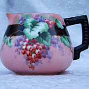 """Gorgeous Vintage Bavaria 1900's Hand Painted """"Red Currant"""" Pitcher by the Artist, """""""