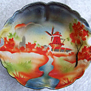 """Superb RS Prussia [ES Germany] 1900's Hand Painted """"Windmill Scene"""" Tapestry Bowl"""