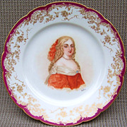 "Outstanding Sevres France 1850's Hand Painted Portrait of the ""Marquise de Montespan"""