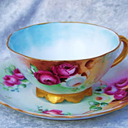 """Gorgeous & Vibrant Rosenthal Bavaria 1900's Hand Painted """"Deep Red, White & Yellow Roses"""""""