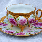 """Outstanding Bavaria 1900's Hand Painted Vibrant """"Red Roses"""" Footed Cup & Saucer"""