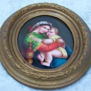 Exceptional 19th Century Antique Minature Painting on  Porcelain Plaque of Raphael's Madonna