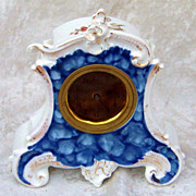 """SALE Superb RS Prussia 1900 Ornate Floral & Cobalt Blue Vintage 6-1/2"""" Floral German Cloc"""