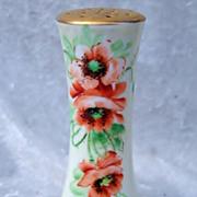 """Beautiful Bavaria 1900's Hand Painted """"Burnt Orange Poppy"""" 5-1/4"""" Sugar Shaker"""