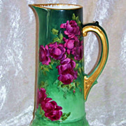 "Spectacular T & V Limoges France Hand Painted Vibrant & Lifelike ""Deep Red Roses"" 11"