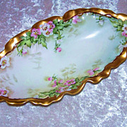 "Fancy & Attractive O.E. & G. Royal Austria Hand Painted Scallop ""Petite Pink & White Rose"