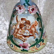 "Gorgeous Antique Bristol Glass 1900's Hand Painted ""Three Frolicking Cherubs"" 7-1/2"""