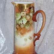 """Beautiful Bavaria 1900's Hand Painted """"Hops Bud"""" Beer Tankard by the Artist, """"H"""