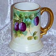 "Gorgeous J.P.L. France Limoges 1913 Hand Painted ""Plums"" Tankard Stein by the Listed"