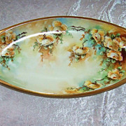 "Beautiful 1920's Germany Hand Painted ""Yellow Roses"" 13-1/8"" Tray by the Artist"