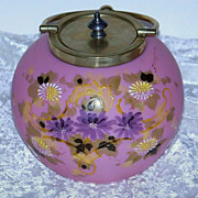 """Outstanding Mt. Washington Glass 1900 Hand Painted Enamel Pink Lavender """"Daisies"""" 5-"""