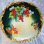"""SALE Exquisite T & V Limoges France 1900's Hand Painted Vibrant """"Red Currant"""" 12-3/4"""