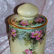"""Gorgeous Bavaria Vintage 1900's Hand Painted """"Wild Pink Roses"""" 6-3/4"""" Tobacco H"""