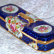 """SALE Exceptional Sevres Pre-1870's Hand Painted """"Wild Flowers"""" 8"""" Dresser Box"""